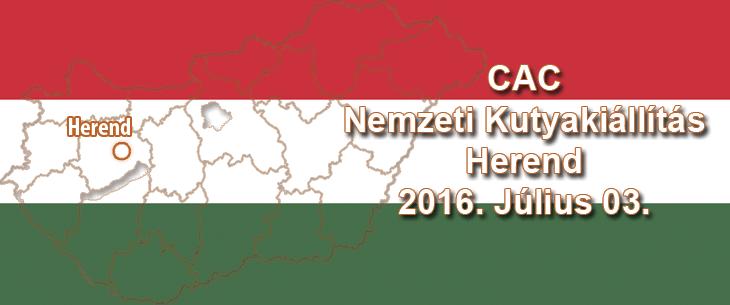 CAC Nemzeti Kutyakiállítás – Herend – 2016. Július 03.